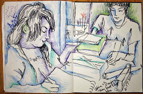Sketch of students 2-17-14. ©Susan Shie 2014