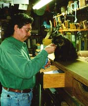 Jimmy and Marigold my cat, in Jimmy's studio.